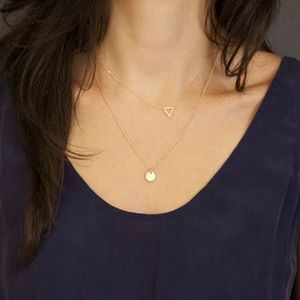 Jewelry - 4 for $25 sequin disc triangle layered necklace